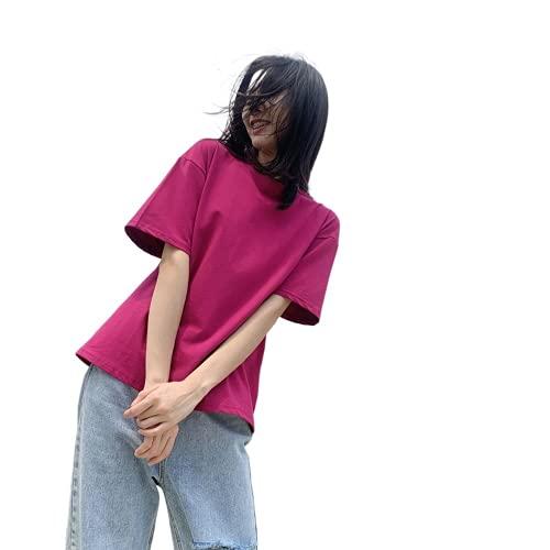 YUNDUO Camiseta De Manga Corta, Top Corto Suelto De Verano, Camiseta De Cuerpo De Algodón Puro, Top Casual para Mujer (Vino Tinto,S)