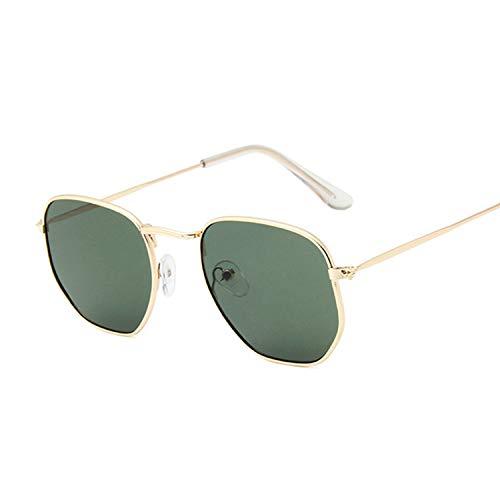 Hombres Retro Gafas De Sol Gafas De Sol De Moda Verde Oscuro Gafas De Sol Hexagonales Hombres Marca Clásica Lente Plana Gafas De Sol Transparentes Hombre Mujer Retro Pequeño Marco De Metal