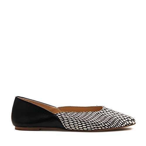 botkier Womens Britt Flat, Black and White Snake, 8.5