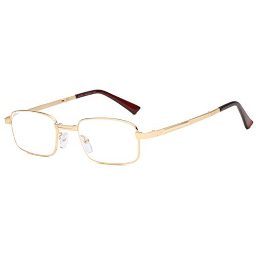 QAA leesbril, opvouwbaar, voor mannen en vrouwen, metalen frame met brillenkoker van kristalglas, slijtvast, hoge definitie (goudkleurig)
