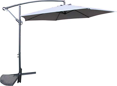 Schallen 3M Leanover Cantilever Hanging Sun Umbrella Banana Parasol with Crank System for Outdoor, Garden and Patio (Light Grey)