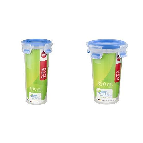 Emsa 508554 Runder Trinkbecher mit Deckel, Volumen 0.5 Liter, Transparent/Blau, Clip & Close & 508551 Runde Frischhaltedose mit Deckel, 0.35 Liter, Transparent/Blau, Clip & Close