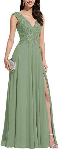 Abendkleider V Ausschnitt Spitze Promkleider Lang A-Linie Damen Party Gown Ballkleid Formalkleider Matcha EU42