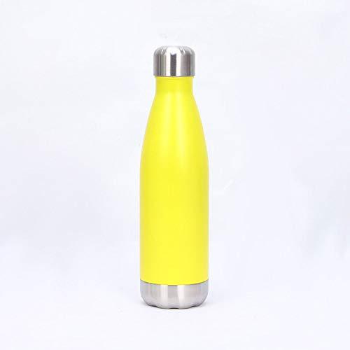 langchao Frasco de vacío de Acero Inoxidable, Frasco de vacío, Botella de Cola de Gran Capacidad, Taza de Agua para Deportes de Bala Spray Amarillo 500ml