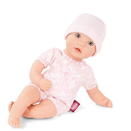 Götz 2016565 Cosy Aquini to Dress Badepuppe - Puppe ohne Haare und blauen Schlafaugen - 33 cm Mädchen-Babypuppe ab 18 Monaten