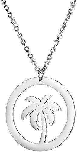 ZPPYMXGZ Co.,ltd Collar de Moda con Colgante de Flor de Coco, Collar de Acero Inoxidable Hueco, joyería para Amantes de la Moda