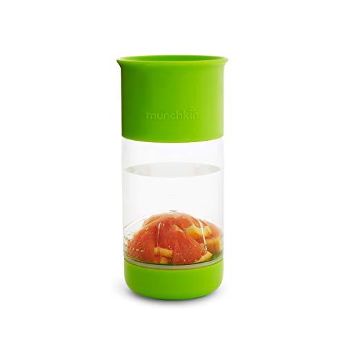 Munchkin Miracle 360° - Vaso de aprendizaje con infusor de frutas, 14oz /414ml, Verde