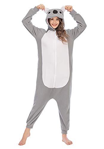 Erwachsene Unisex Kostüm Jumpsuit Onesie Tier Fasching Karneval Halloween kostüm Cosplay Schlafanzug, Koala