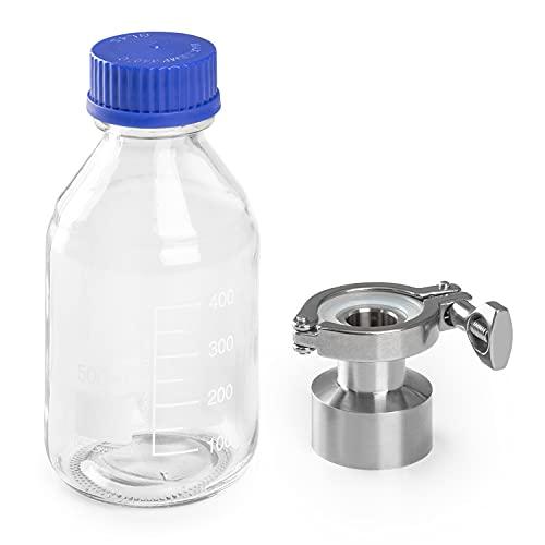 Klarstein Gärkeller Pro XL Botella recolectora de levadura - Accesorio para fermentador Gärkeller Pro XL, Adaptador para válvula, Botella de vidrio, Capacidad 400 ml, Tapa de rosca hermético, Blanco