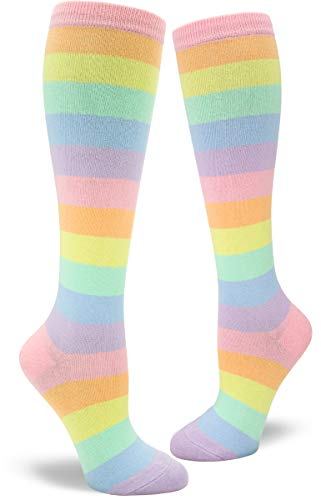 ModSocks Women's Pastel Rainbow Striped Knee High Socks in Pastel Rainbow