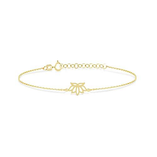 GELIN Pulsera ajustable de oro macizo de 14 quilates con flor de loto para mujer