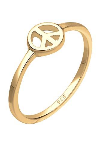 Elli Ring Damen Statement Ring mit Peace-Zeichen in 925 Sterling Silber Vergoldet