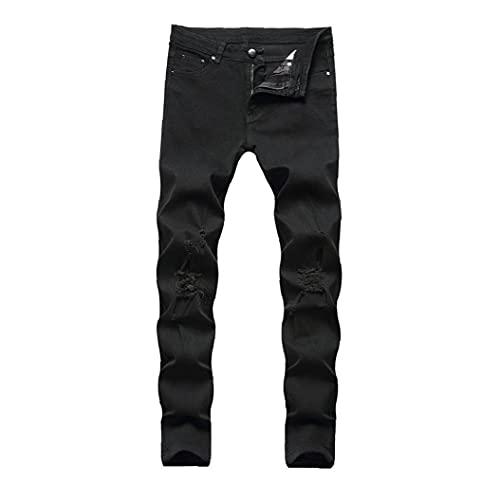 NIDONE Hombres Ripped Jeans Slim Straight Stilist Mid-Cintura De Algodón Pantalones De Mezclilla Style2 Tamaño42