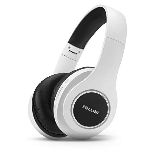 Bluetooth Headphones Over Ear, pollini Wireless Headset V5.0 with Deep Bass, Soft Memory-Protein Earmuffs and Built-in Mic for iPhone/Android Cell Phone/PC/TV (White Black)