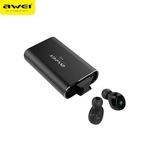AWEI - Auriculares Bluetooth 5.0 T85 TWS, base de carga de 1800 mAh, color negro