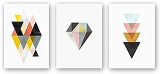 Set of 3-Abstract Geometric Canvas Art Printing Triangle Diamond Pattern Irregular Pattern Printing Poster Wall-Artwork Oi...