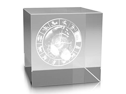VIP-LASER 3D Glas Kristall im XL Glaswürfel Sternzeichen Waage (60x60x60 mm) Lasergravur