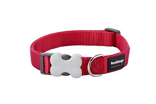 Red Dingo Plain - Collar Perro, Rojo (Red), talla del fabricante: L