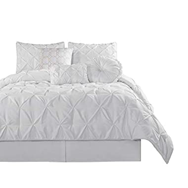 Chezmoi Collection Sydney-Com Sydney 7 Piece Pintuck Comforter Set, White, Queen