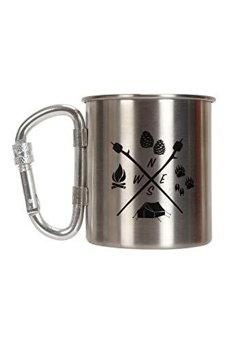 Mountain Warehouse Tasse imprimée Adventure Awaits - Tasse à thé et café en Acier Inoxydable, poignée à Mousqueton verrouillable, Facile à Nettoyer Argent Taille Unique