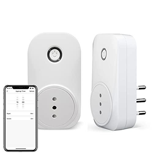 LoraTap 2pz Presa Intelligente WiFi Smart Plug Spina Senza Fili Compatibile con Google Home e Amazon Alexa, Controllo Remoto Funzione di Temporizzazione per Elettrodomestici, 10A/2200W, Bianco