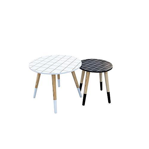 The Home Deco Factory Set met 2 tafels, uittrekbaar, geruit, ronde plaat van MDF, wit, blauw, M, L