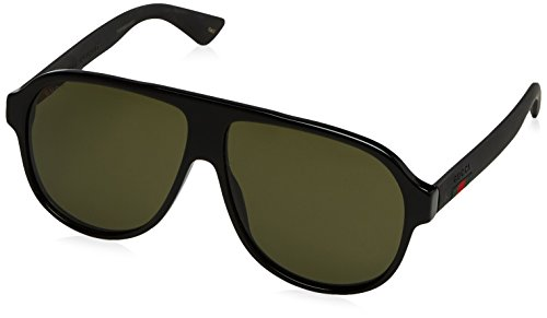 Gucci Urban Oversized Sunglasses, Lens-59 Bridge-11 Temple-145, Black / Green / Black