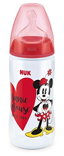 NUK Disney Mickey First Choice+ Babyflasche aus PP 300 ml mit Anti-Colic-Trinksauger Silikon Gr. 2 M (ab 6-18 Monate) für Milch, BPA frei, Farbe rot