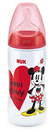 NUK Disney Mickey First Choice+ Babyflasche aus PP 300 ml mit Anti-Colic-Trinksauger Silikon Gr. 2 M (ab 6-18 Monate) für Milch, BPA frei, Farbe rot