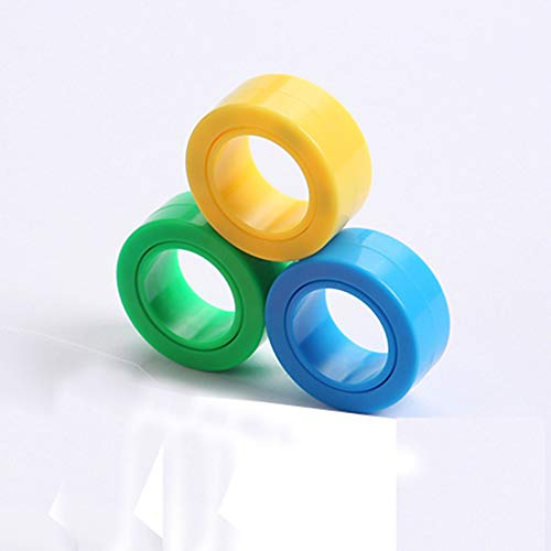 Magnetic Rings, Stress Relief Toys, Decompression Relief Autism, Anxiety, Stress Toys, Training Relieves Stress Reducer 6 Pcs Set(green,blue,yellow)