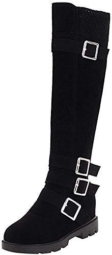 Bigtree Overknee Stiefel für Frauen Flache Winter Warm Reißverschluss Komfortable Kunstpelz Schnee Stiefel Übergrößen Flandell Schwarz