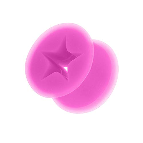 Taffstyle Kultpiercing - Túnel para la oreja (silicona, 10 mm), diseño de estrella, color lila