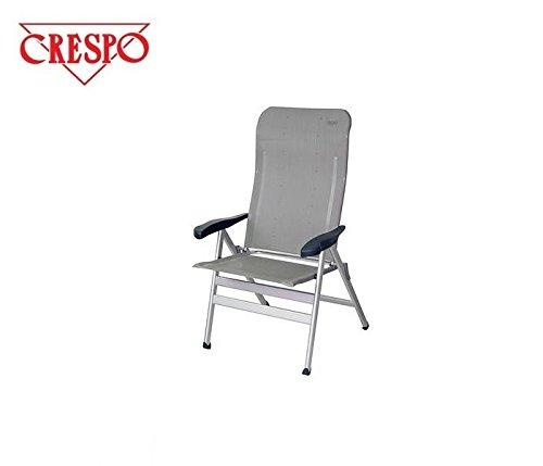 Chaise pliante de camping sTABIELO-chaise pliable avec 6 niveaux de puissance réglable de 68 cm à dossier haut en dURALUMINIUM-raccord ovale 3,8 kg-léger-couleur : sable-charge max. : 140 kg-hOLLY sunshade contre supplément disponible avec hOLLY fÄCHERSCHIRMEN-hOLLY ® produits sTABIELO-innovation fabriqué en allemagne