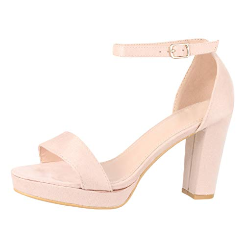 Elara Damen Pumps High Heels Chunkyrayan WW100 Beige-40