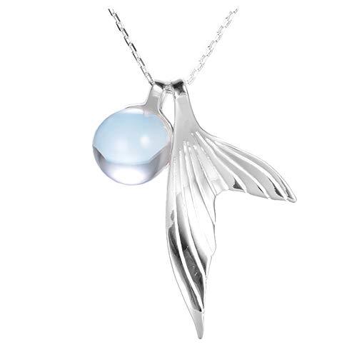 Helen de Lete Collar de plata de ley 925 cola de sirena y burbuja azul