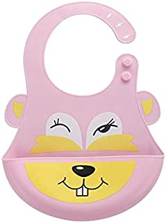 Silicone Baby Bib with Adjustable Neck Fit for Babies & Toddlers, Soft & Comfortable Feeding Bib with Wide Catcher for Boy...