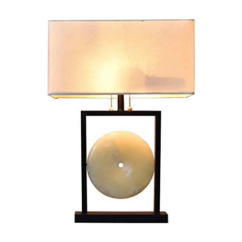 Lámpara de Mesa Asiático Mesa decorativa Lámpara de jade natural de mármol de la lámpara de cabecera con la pantalla de la tela rectangular for el dormitorio de la sala de la familia de noche Mesilla