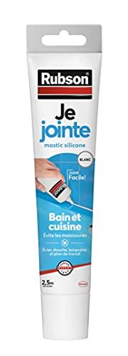 Rubson Je Jointe Mastic Blanc 50 ml, mastic étanche anti-moisissure en tube prêt à l'emploi, mastic silicone durable pour joints sanitaires spécial Bain & Cuisine