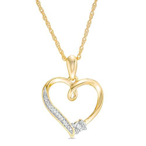 Colgante de corazón de diamante redondo de imitación de 0,25 quilates con cadena de 45,72 cm en plata de ley 925 chapada en oro amarillo de 10 quilates.
