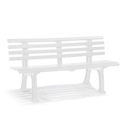 Parkbank aus Kunststoff - mit 9 Leisten - Breite 1500 mm, weiß - Sitzbank Gartenbank Ruhebank Bank für Außenbereich UV- und witterungsbeständig PVC Bank