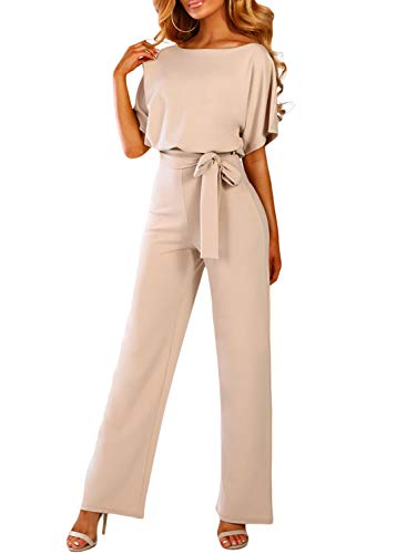 Dokotoo Damen Kurzarm Lang Jumpsuit Elegant Overall Jumpsuit O-Ausschnitt Playsuit Rückenfrei Sexy Hosen mit Gürtel Aprikose L