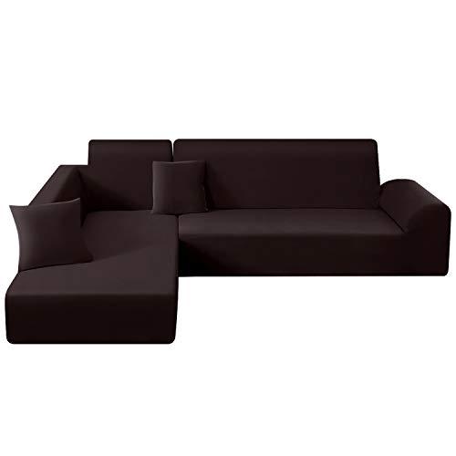TAOCOCO Funda para sofá en Forma de L Funda elástica elástica 2 Juegos para 3 Asientos + 3 Asientos, con Funda de cojín de 2 Piezas (Marrón)