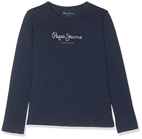 Pepe Jeans Hana Glitter L/S T-Shirt, Azul (Navy 595), 18 Anos para Niñas