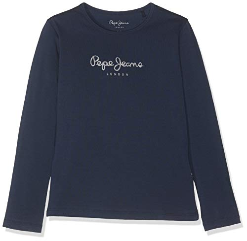 Pepe Jeans Hana Glitter L/S Camiseta, Azul (Navy 595), 11-12