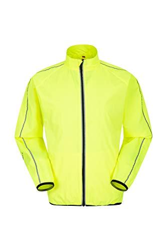 Mountain Warehouse Force Wasserabweisende Jogging-Herrenjacke - reflektierende Regenjacke, Netzeinsätze, Reißverschlusstaschen, verlängerte Rückseite - für Draußen Gelb Large
