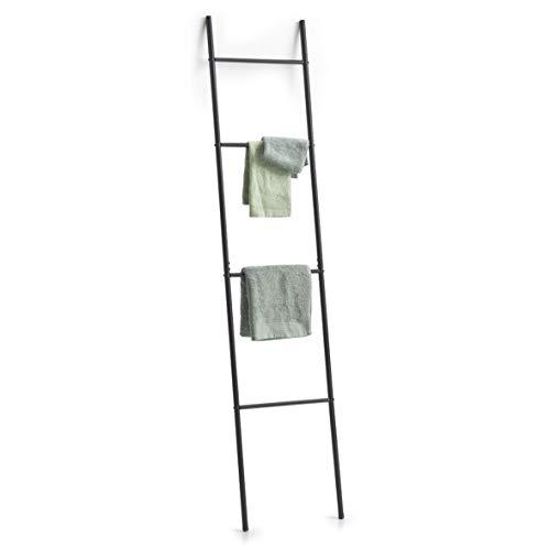 Zeller - Toallero de Metal, Color Negro, Aprox. 38 x 2 x 176 cm