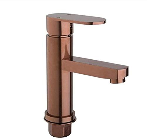 Grifo de baño grifo de tocador de oro rosa espacio pulido material de metal de aluminio manija única