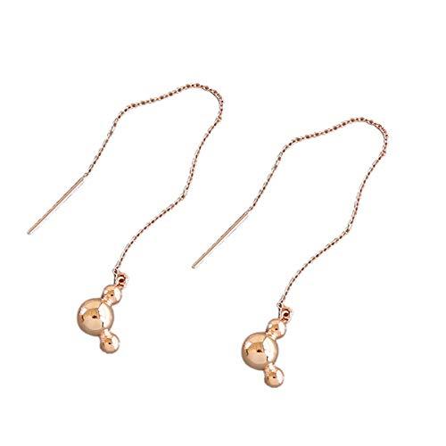 Regalos para el Día de la Madre Pendientes de plata de ley S925, modernos, minimalistas, geometría, perlas redondas, collar de Mickey con líneas largas, joyas para mujeres y niñas.