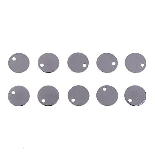 Hjku 100 piezas de etiquetas redondas de acero inoxidable con estampado en blanco y colgante de joyería de bricolaje