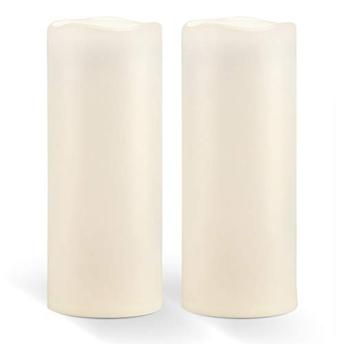 "Homemory 10"" x 4' Waterproof Outdoor Flameless Candles - Battery Operated Flickering LED Pillar Candles for Indoor Outdoor Lanterns, Long Lasting, Large, Set of 2"